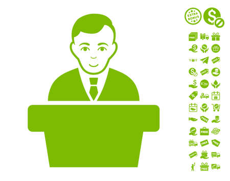 Politician pictograph with free bonus pictures. Vector illustration style is flat iconic symbols, eco green color, white background.