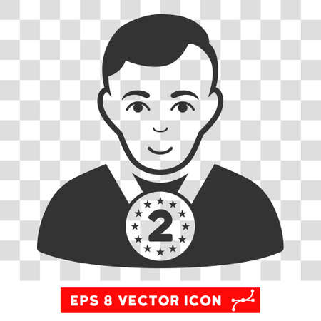 2nd: 2nd Prizer Sportsman EPS vector icon. Illustration style is flat iconic gray symbol on chess transparent background. Illustration
