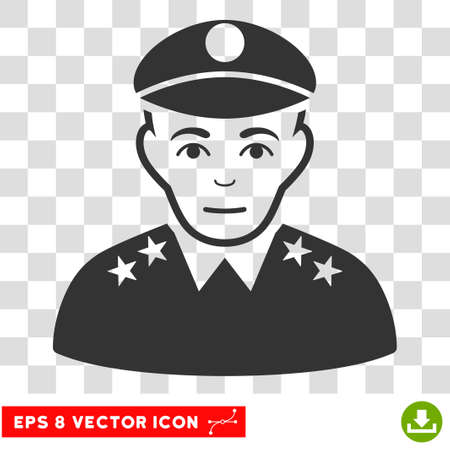 general: Army General EPS vector icon. Illustration style is flat iconic gray symbol on chess transparent background.