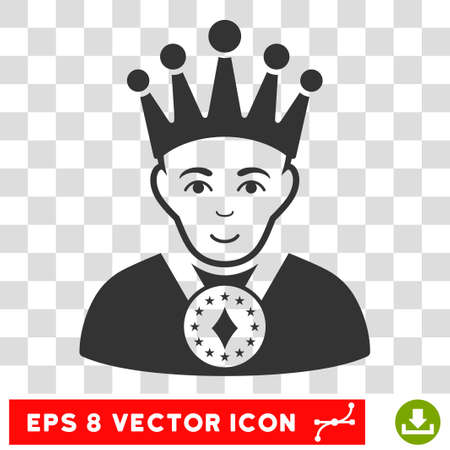 czar: King EPS vector pictograph. Illustration style is flat iconic gray symbol on chess transparent background. Illustration