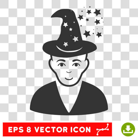 Magic Master EPS vector pictograph. Illustration style is flat iconic gray symbol on chess transparent background. Illustration