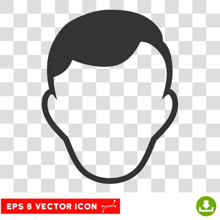 Man Face Template EPS vector icon. Illustration style is flat iconic gray symbol on chess transparent background. Illustration