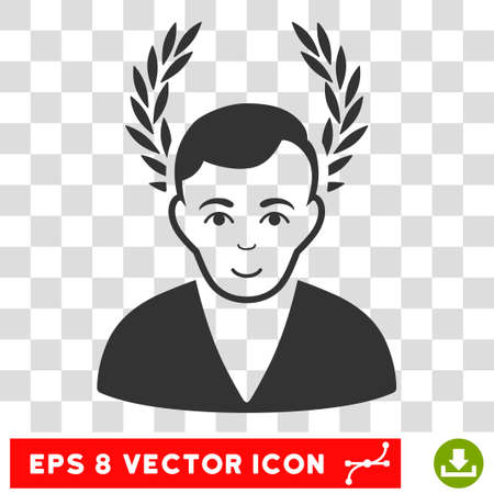 Man Glory EPS vector pictograph. Illustration style is flat iconic gray symbol on chess transparent background.