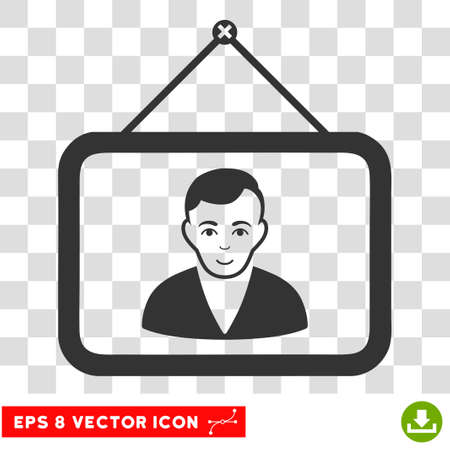 Man Portrait EPS vector pictogram. Illustration style is flat iconic gray symbol on chess transparent background. Illustration