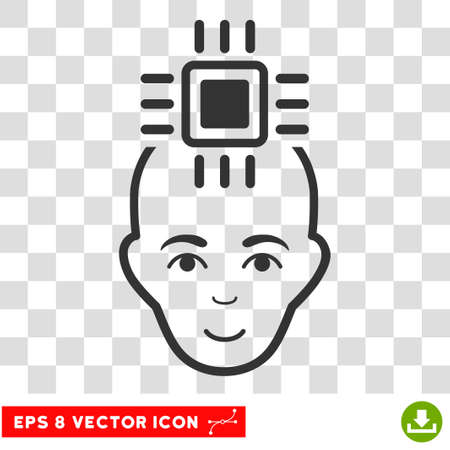 cranial: Neural Computer Interface EPS vector pictograph. Illustration style is flat iconic gray symbol on chess transparent background.