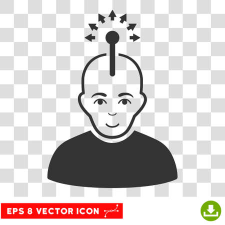 Optical Neural Interface EPS vector pictograph. Illustration style is flat iconic gray symbol on chess transparent background. Illustration