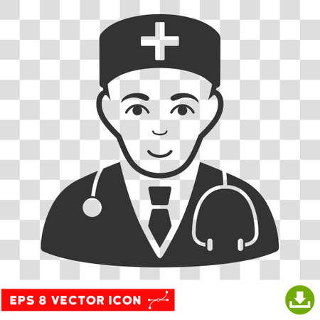 Physician EPS vector pictogram. Illustration style is flat iconic gray symbol on chess transparent background. Illustration