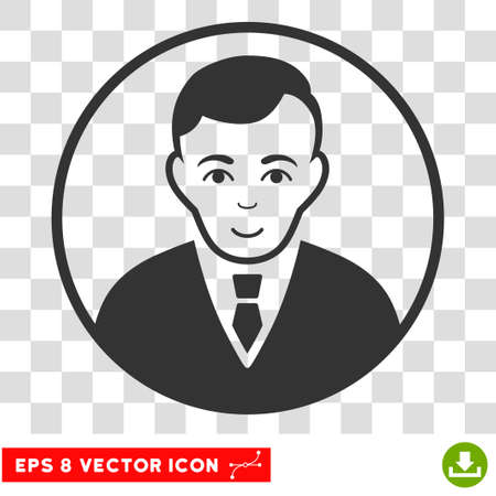 Rounded Gentleman EPS vector icon. Illustration style is flat iconic gray symbol on chess transparent background.