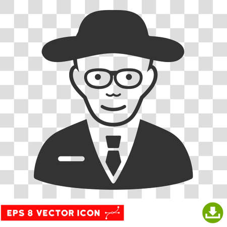 researcher: Scientist EPS vector icon. Illustration style is flat iconic gray symbol on chess transparent background. Illustration