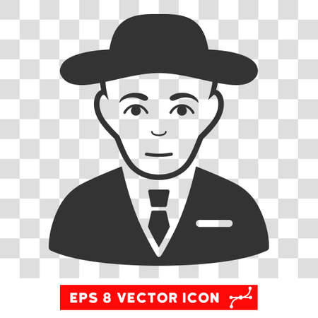Secret Service Agent EPS vector pictogram. Illustration style is flat iconic gray symbol on chess transparent background.