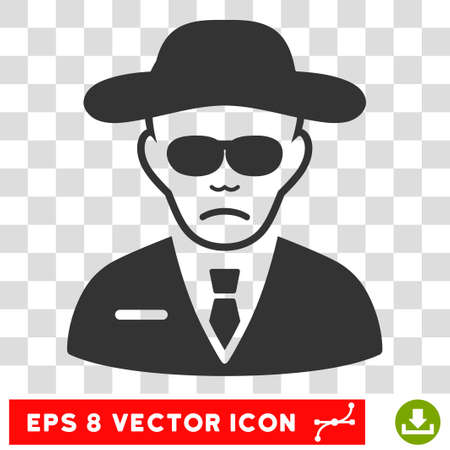 Security Agent EPS vector pictograph. Illustration style is flat iconic gray symbol on chess transparent background.