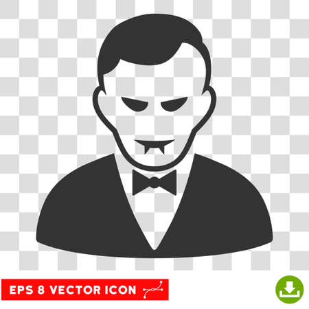 Vampire EPS vector pictograph. Illustration style is flat iconic gray symbol on chess transparent background.