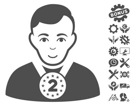 2nd: 2nd Prizer Sportsman icon with bonus tools images. Vector illustration style is flat iconic gray symbols on white background.