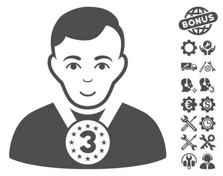 configure: 3rd Prizer Sportsman icon with bonus setup tools clip art. Vector illustration style is flat iconic gray symbols on white background. Illustration