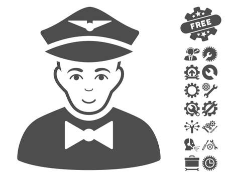 Airline Steward pictograph with bonus setup tools pictures. Vector illustration style is flat iconic gray symbols on white background. Illustration