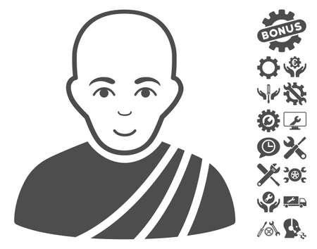 configure: Buddhist Monk icon with bonus settings images. Vector illustration style is flat iconic gray symbols on white background.