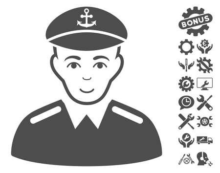 Captain pictograph with bonus setup tools images. Vector illustration style is flat iconic gray symbols on white background. Illustration