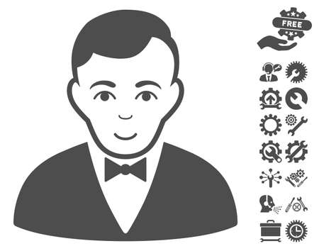 moneymaker: Dealer icon with bonus settings pictures. Vector illustration style is flat iconic gray symbols on white background.