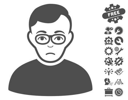 configure: Downer icon with bonus settings images. Vector illustration style is flat iconic gray symbols on white background. Illustration