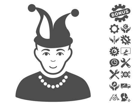 fool: Fool pictograph with bonus configuration design elements. Vector illustration style is flat iconic gray symbols on white background.