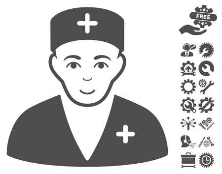 configure: Medic pictograph with bonus setup tools symbols. Vector illustration style is flat iconic gray symbols on white background.