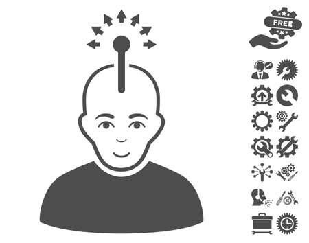cerebra: Optical Neural Interface icon with bonus options design elements. Vector illustration style is flat iconic gray symbols on white background.