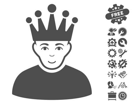 watcher: Moderator pictograph with bonus tools images. Vector illustration style is flat iconic gray symbols on white background. Illustration