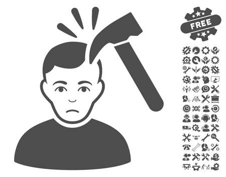 Murder With Hammer icon with bonus options images. Vector illustration style is flat iconic gray symbols on white background. Illustration