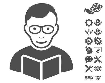 configure: Reader icon with bonus service clip art. Vector illustration style is flat iconic gray symbols on white background. Illustration