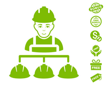 Builder Management icon with free bonus pictograms. Vector illustration style is flat iconic symbols, eco green color, white background. Illustration