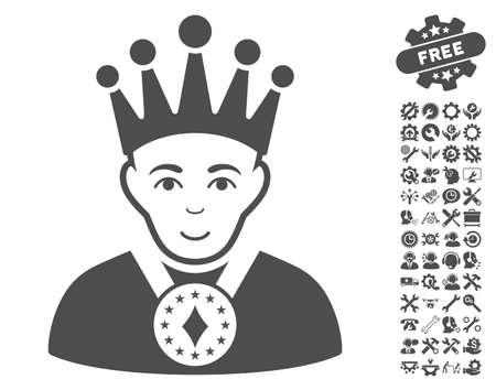 czar: King icon with bonus setup tools clip art. Vector illustration style is flat iconic gray symbols on white background. Illustration