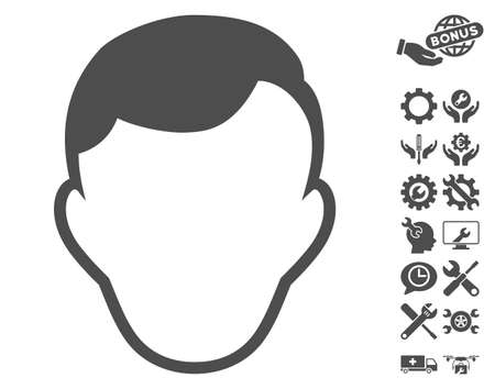 setup man: Man Face Template icon with bonus setup tools clip art. Vector illustration style is flat iconic gray symbols on white background.