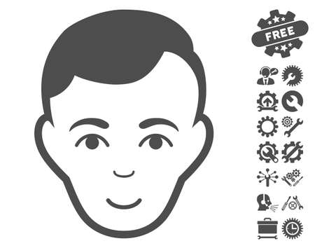 configure: Man Face icon with bonus tools pictograph collection. Vector illustration style is flat iconic gray symbols on white background.