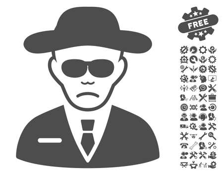 body guard: Security Agent pictograph with bonus configuration clip art. Vector illustration style is flat iconic gray symbols on white background.