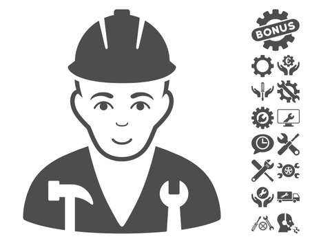serviceman: Serviceman icon with bonus tools design elements. Vector illustration style is flat iconic gray symbols on white background.