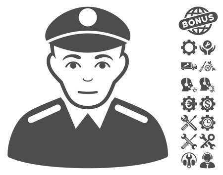 sergeant: Soldier icon with bonus service pictograms. Vector illustration style is flat iconic gray symbols on white background.