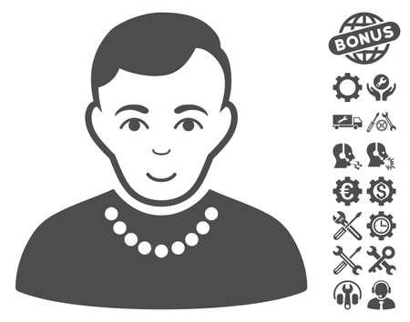 configure: Trendy Guy icon with bonus settings icon set. Vector illustration style is flat iconic gray symbols on white background. Illustration