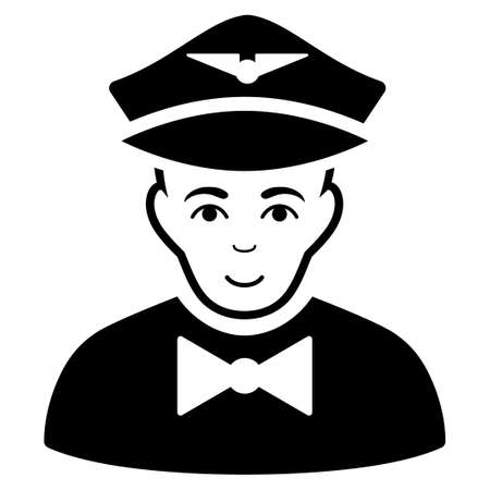 Airline Steward glyph icon. Flat black symbol. Pictogram is isolated on a white background. Designed for web and software interfaces.