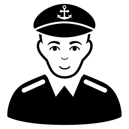 Captain glyph icon. Flat black symbol. Pictogram is isolated on a white background. Designed for web and software interfaces.
