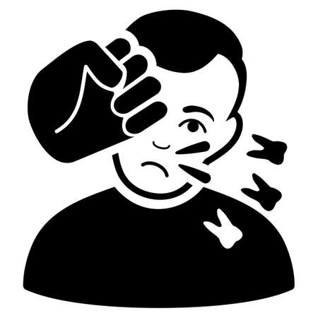 Head Strike glyph icon. Flat black symbol. Pictogram is isolated on a white background. Designed for web and software interfaces.