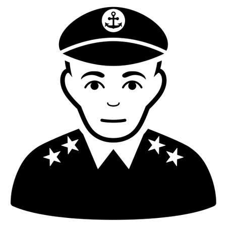 Military Captain glyph icon. Flat black symbol. Pictogram is isolated on a white background. Designed for web and software interfaces. Stock Photo