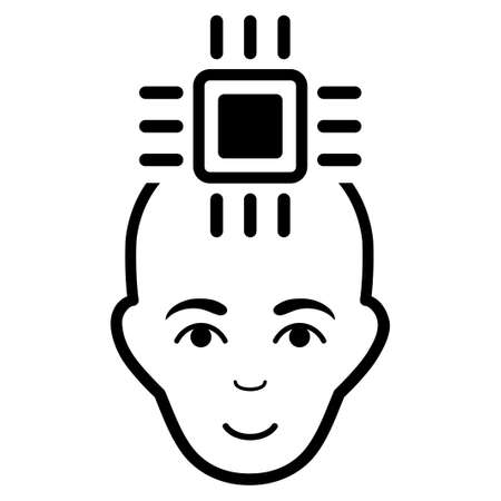 Neural Computer Interface glyph icon. Flat black symbol. Pictogram is isolated on a white background. Designed for web and software interfaces.