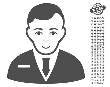 stockbroker: Businessman pictograph with bonus human images. Vector illustration style is flat iconic gray symbols on white background.
