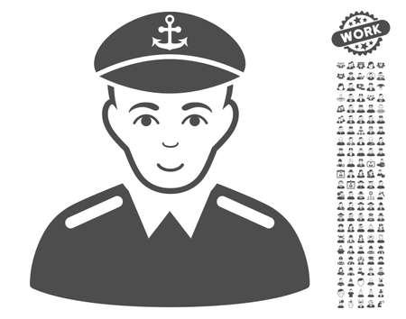 configure: Captain pictograph with bonus men symbols. Vector illustration style is flat iconic gray symbols on white background.