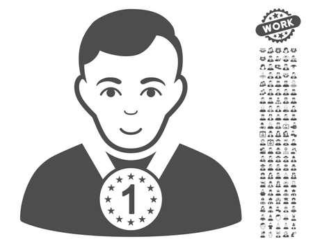 configure: Champion pictograph with bonus people images. Vector illustration style is flat iconic gray symbols on white background. Illustration