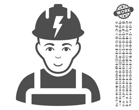 configure: Electrician icon with bonus men images. Vector illustration style is flat iconic gray symbols on white background.