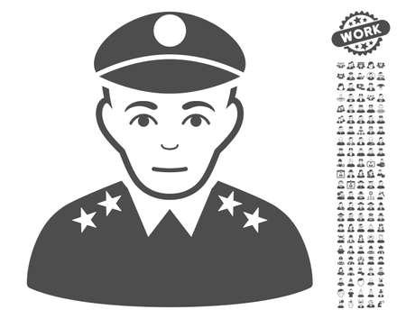 configure: Army General icon with bonus avatar icon set. Vector illustration style is flat iconic gray symbols on white background. Illustration