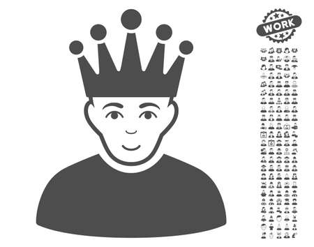 watcher: Moderator pictograph with bonus human pictograph collection. Vector illustration style is flat iconic gray symbols on white background.