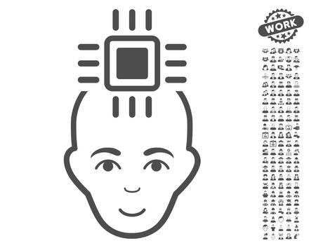 setup man: Neural Computer Interface icon with bonus people pictograph collection. Vector illustration style is flat iconic gray symbols on white background.