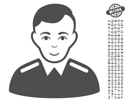 configure: Officer icon with bonus human clip art. Vector illustration style is flat iconic gray symbols on white background.